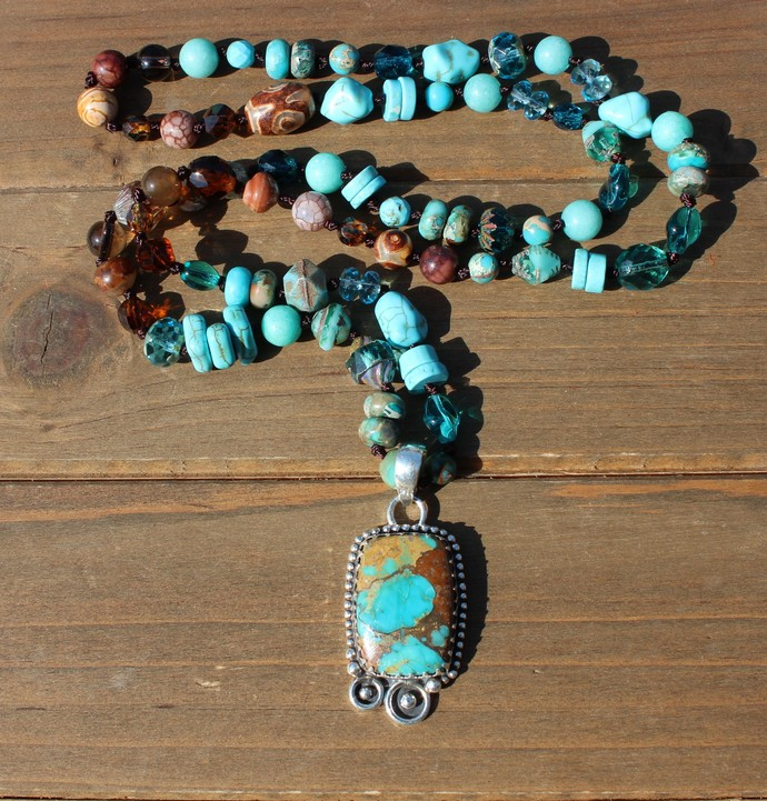 Long Beaded Necklace, High Vib Jewelry, Pilot Mt Turquoise Necklace, Natural