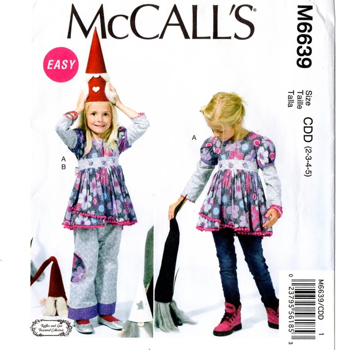 McCall's 6639 Girls Top, Pants Sewing Pattern Uncut Size 2, 3, 4, 5 Back Ties,
