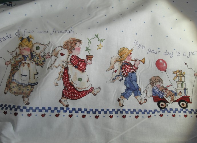 Daisy Kingdom, Fabric, Border, Childs, White, Parade, Angels, 2 yds., Vintage,