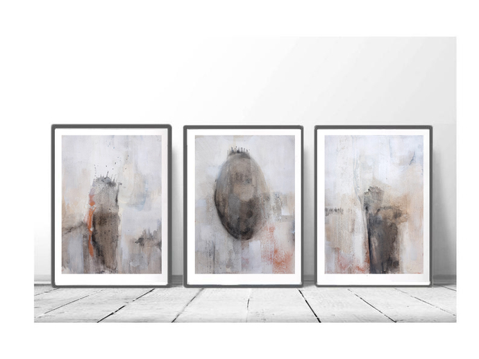 Original abstract painting, rustic home decor, abstract painting ,Neutral set of