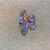 Sparkling Flowers, Purple/Orange, Cabochon, 3 Piece Set