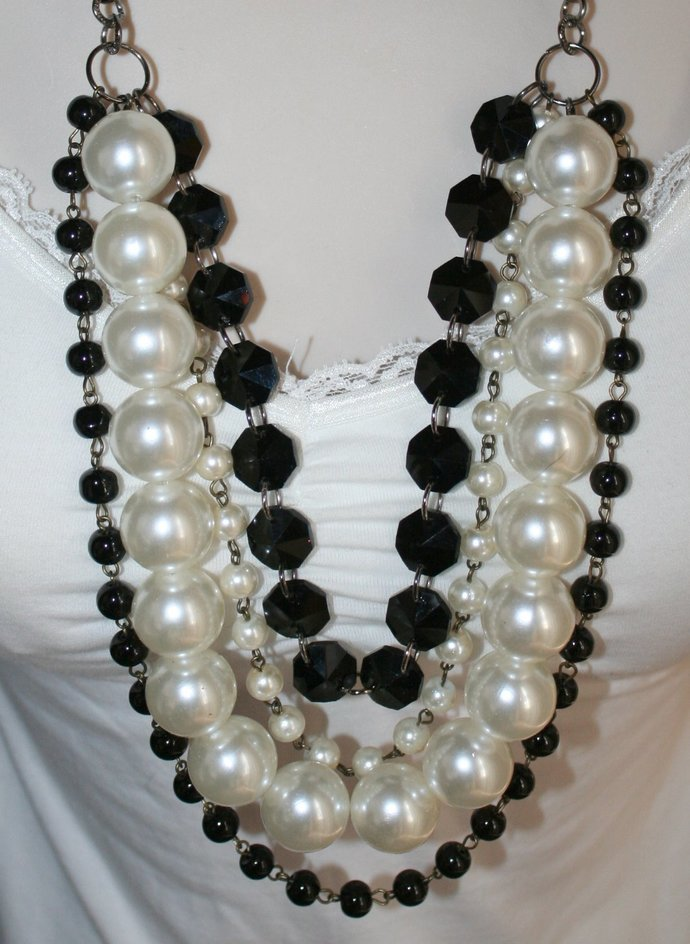 Giant White Pearl with Black Crystal Statement Necklace, Long Multi-Strand Faux