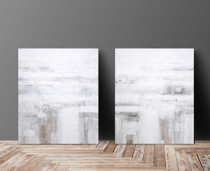 set of 2, Original Art, White and silver leaf abstract , wall art diptych white,