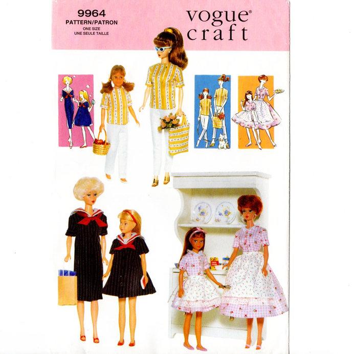 Vogue Craft 9964/658 Barbie & Skipper Dress, Pants, Top 90s Vintage Sewing