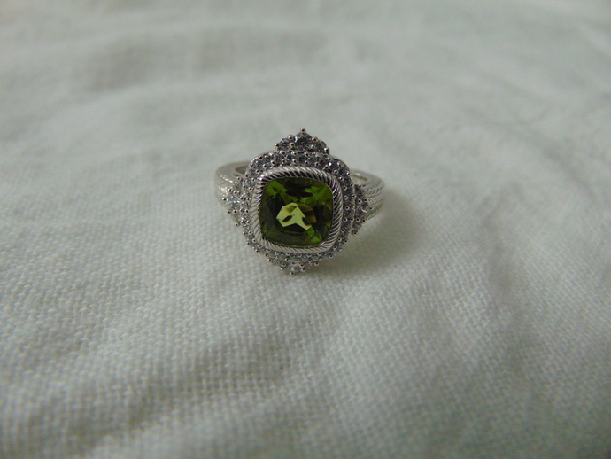 vintage Judith Ripka signed sterling silver peridot clear czs ring sz.8 green