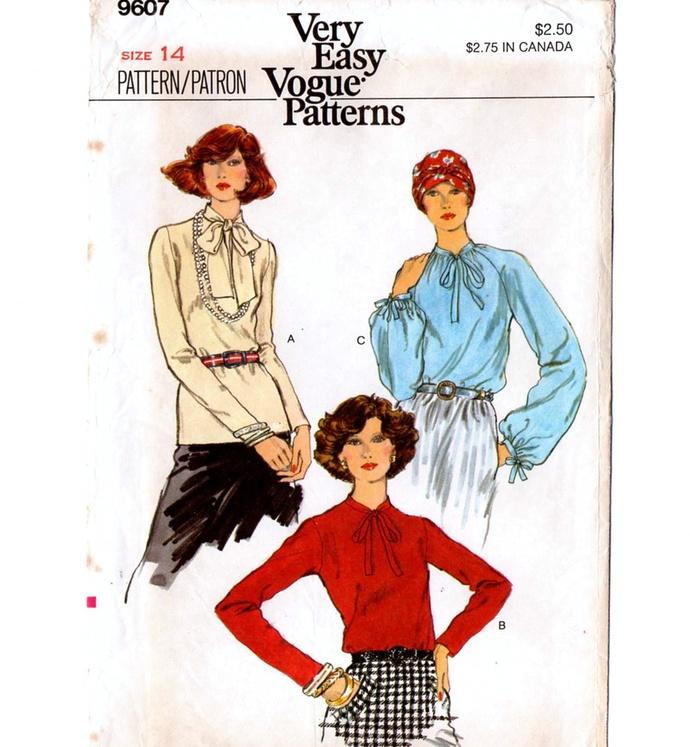 Vogue 9607 Misses Blouses 70s Vintage Sewing Pattern Uncut Size 14 Bust 36 Very