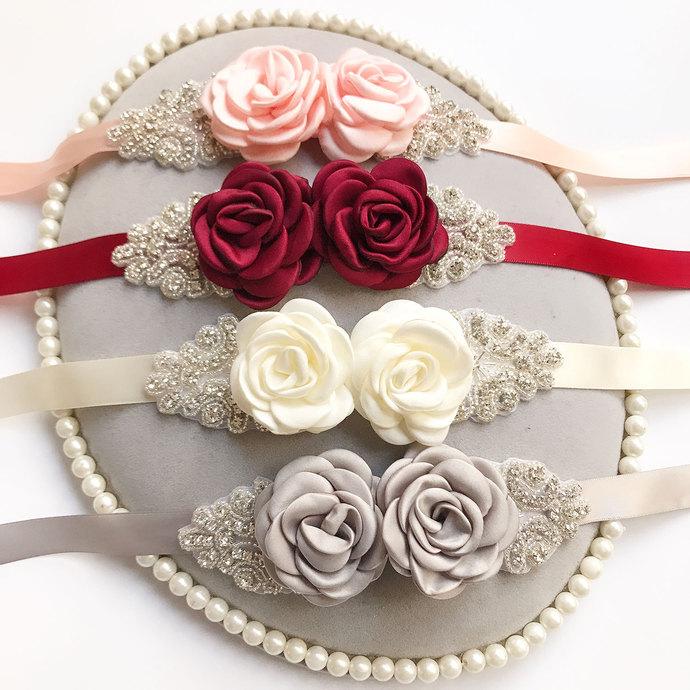Handmade Flower Sash Belt for Maternity Pregnancy Baby Shower Wedding Party