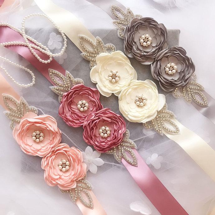 Wedding Flower girl Sash Belt Bridal Dress Rhinestone Sash Bridesmaid Flowers