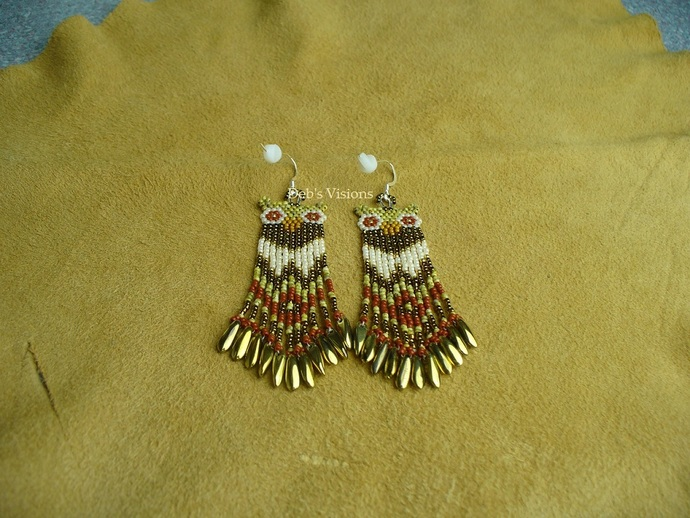 Native American Style Brick Stitched Owl Earrings in Canary Yellow Picasso,