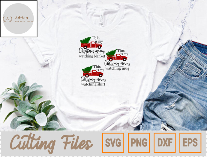 This Is My Christmas Movies Watching Shirt SVG, Christmas Blanket SVG, Christmas
