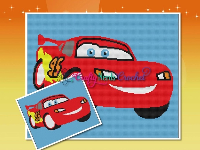 Lightning McQueen Patten Graph With Single Crochet Written