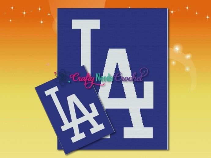 LA Dodgers Pattern Graph With Single Crochet Written