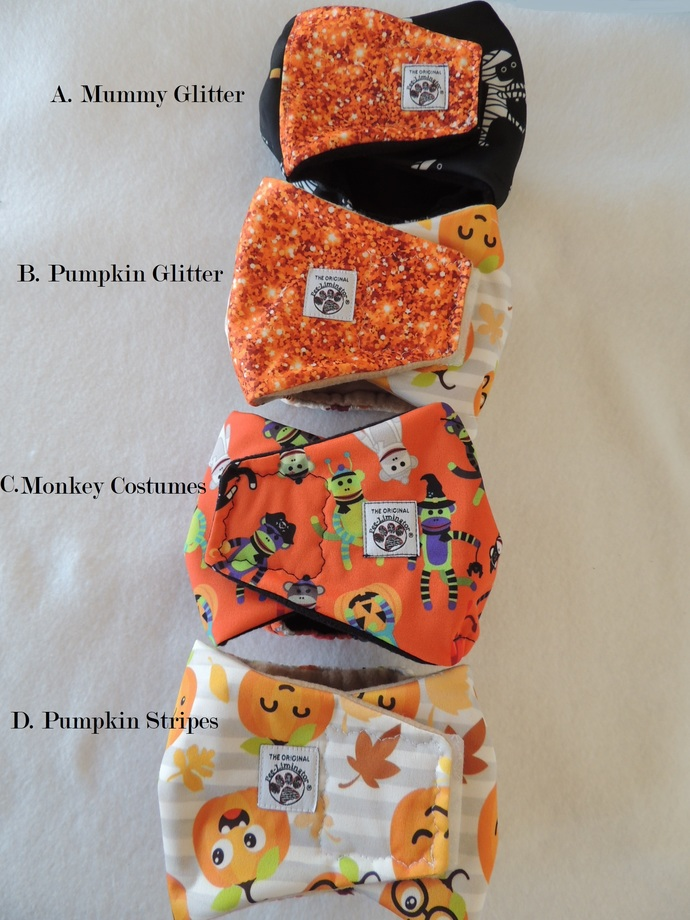 SMALL Halloween Bellybands for Male Dogs
