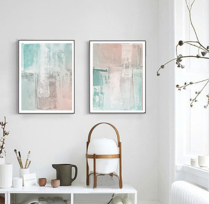 Abstract Painting, Minimalist Art Set Of 2 Prints, A3 set of 2 green ,Mint pink
