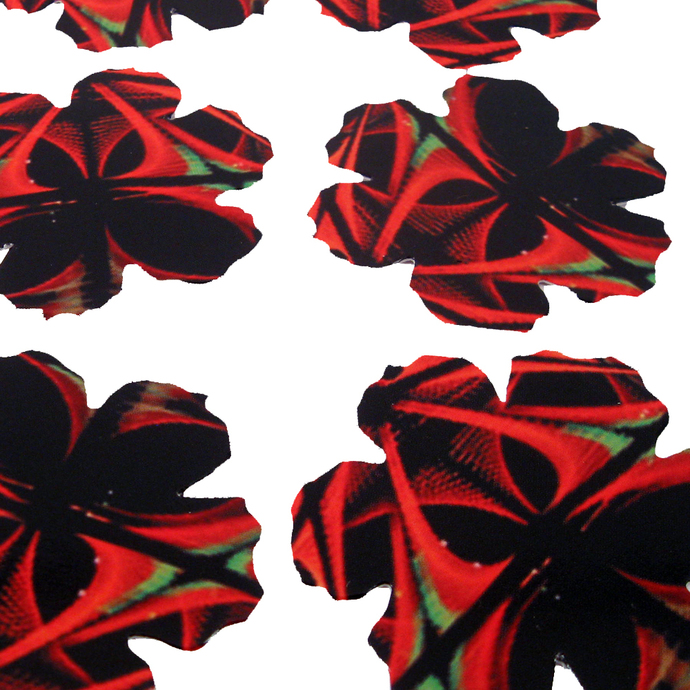 Bold Black Red Die Cut Flowers for Crafting