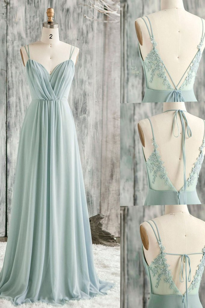 Mint Green Chiffon with Lace Floor Length Bridesmaid Dress, Long A-line Party