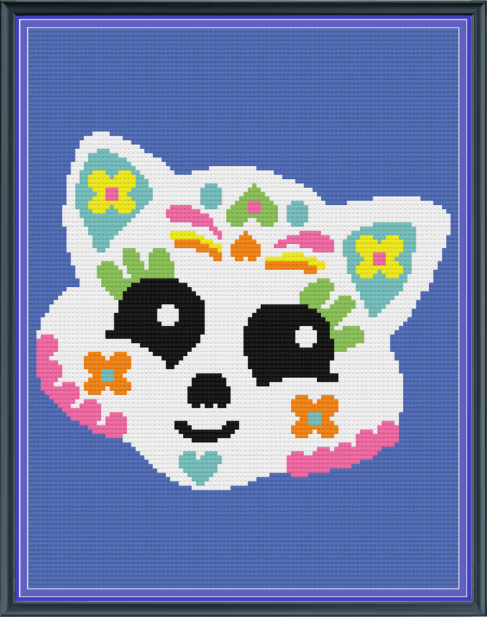 Meow Sugar Skull Mini C2C 100x130 with graph and color block instructions