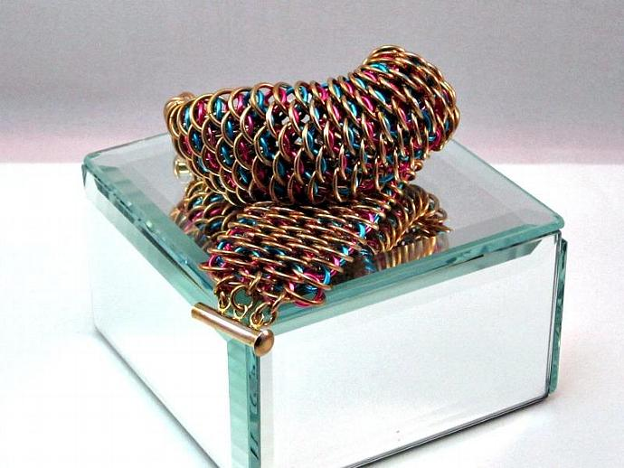Golden Dragon Chainmaille Cuff Bracelet