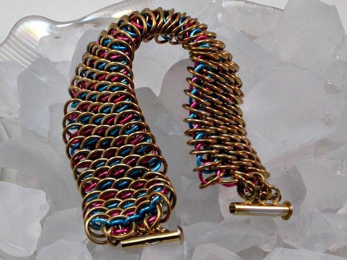 Golden Dragon Chainmaille Cuff Bracelet