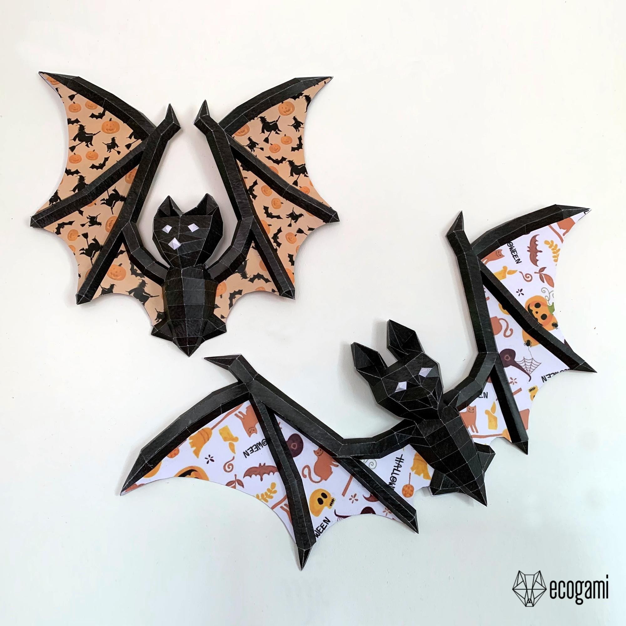 Bat papercraft sculptures, printable 3D puzzle, 3D papercraft Pdf template to