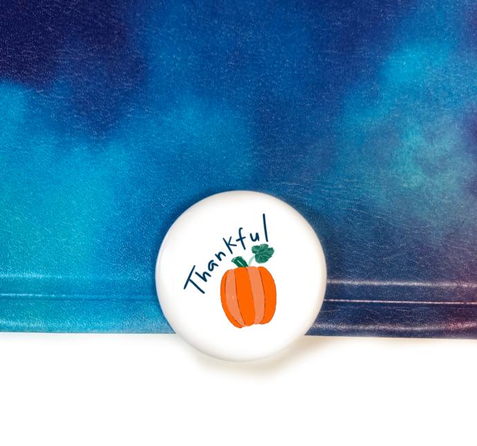 Pumpkin Fall Art Button Thankful