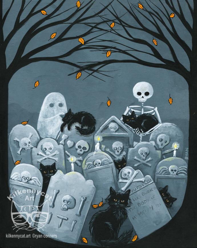 Black Cats in the Cemetery Original Halloween Cat Folk Art Painting