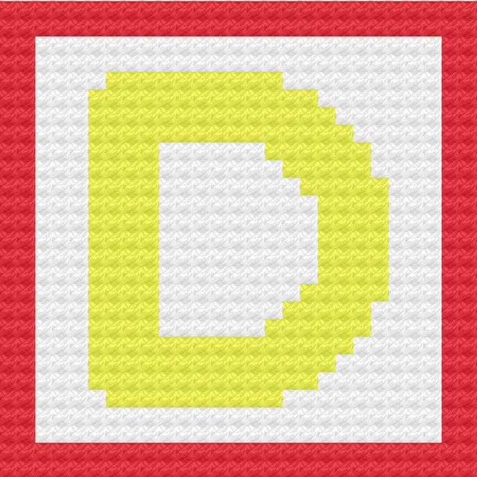 Children's Toy Block Letter D Throw Pillow C2C Crochet Pattern PDF Graph &
