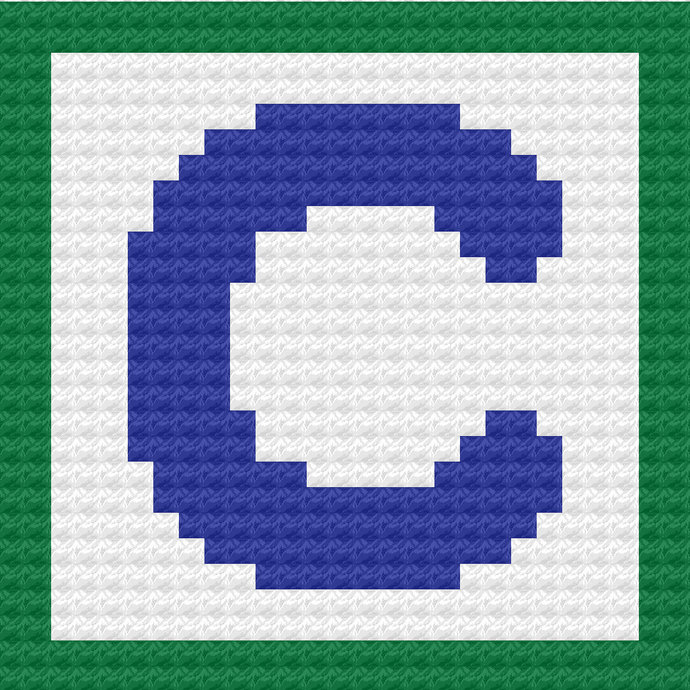 Children's Toy Block Letter C Throw Pillow C2C Crochet Pattern PDF Graph &