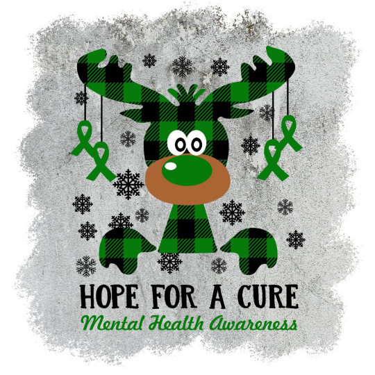Mental Health Awareness, Hope for a cure, Holiday green buffalo Plaid Moose,