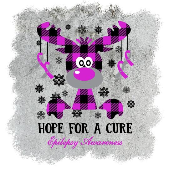 Epilepsy Awareness, Hope for a cure, Holiday buffalo purple Plaid Moose, Happy