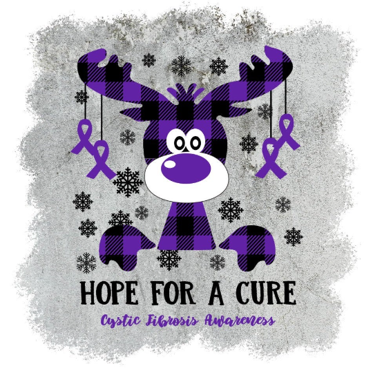 Cystic Fibrosis Awareness, Hope for a cure, Holiday buffalo purple Plaid Moose,