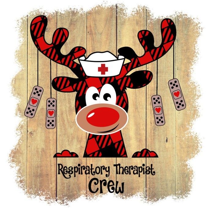 Respiratory Therapist Crew, reindeer nurse, Holiday red buffalo Plaid Moose