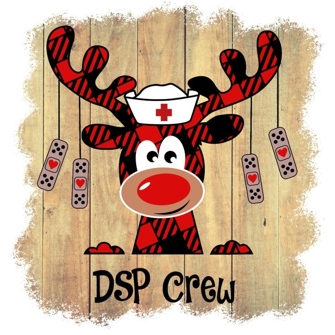 DSP Crew, reindeer nurse, Holiday red buffalo Plaid Moose nurse, Happy Holiday,