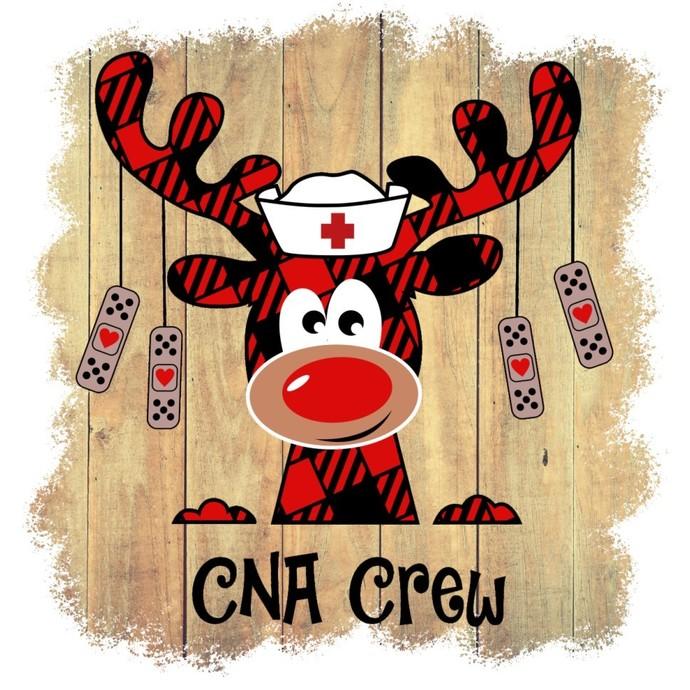 CNA Crew, reindeer nurse, Holiday red buffalo Plaid Moose nurse, Happy Holiday,