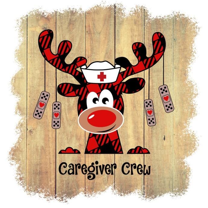 Caregiver Crew, reindeer nurse, Holiday red buffalo Plaid Moose nurse, Happy