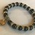 "7"" Hematite Gemstone Beads & Crystal Spacer Beads Stretchy Bracelet w/ Charm"