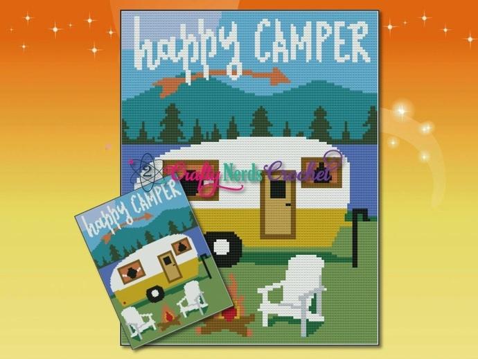Happy Camper Scene Pattern Graph With Single Crochet Written
