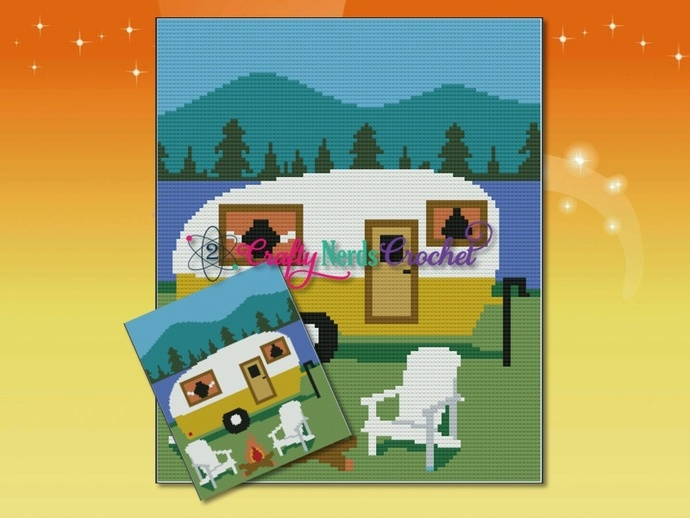 Camping Trailer Pattern Graph With Mini C2C Written