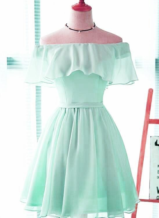 High Quality Simple Style Short Chiffon Party Dress, A-line Off Shoulder Prom