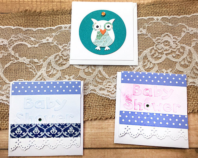 "Set of Three 3""x3"" Assorted Mini-Cards, Gift Tags, Baby Shower, Little One, Owl,"