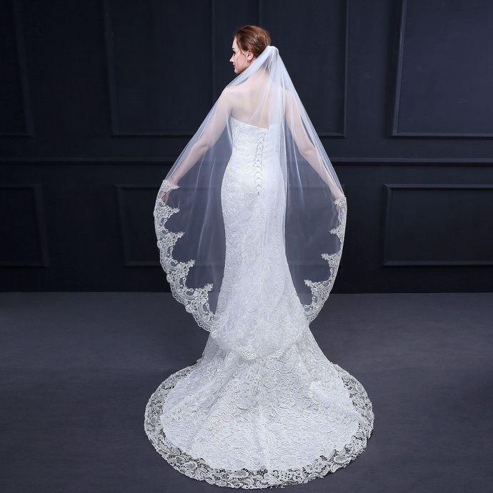 Women's Wedding Veil 59 Inch  Lace Veil Single Tier 1T Long Veils For Brides