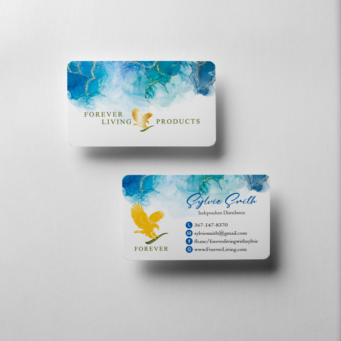 Watercolor Forever Living Business Cards, Personalized Forever Living Template