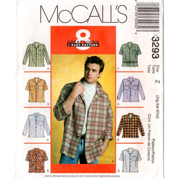 McCall's 3293 Men's Shirts 8 Looks Sewing Pattern Uncut Size Xlg, XXlg, XXXlg