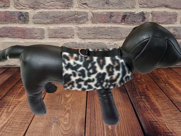 Fleece Cheetah/Leopard Print Harness/Jacket, Soft Cozy Warm Pet Wear, Winter Dog