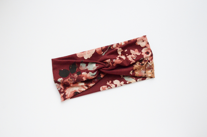 Boho Twist Headband - Burgundy Floral