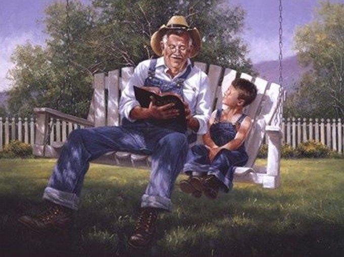 CRAFTS Grandpa Reading The Bible Cross Stitch Pattern***LOOK***X***INSTANT
