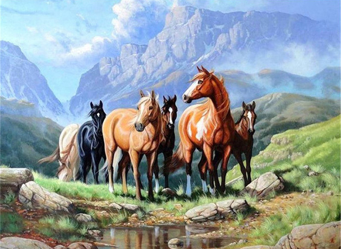 Wild Mountian Horses Cross Stitch Pattern***LOOK***X***INSTANT DOWNLOAD***