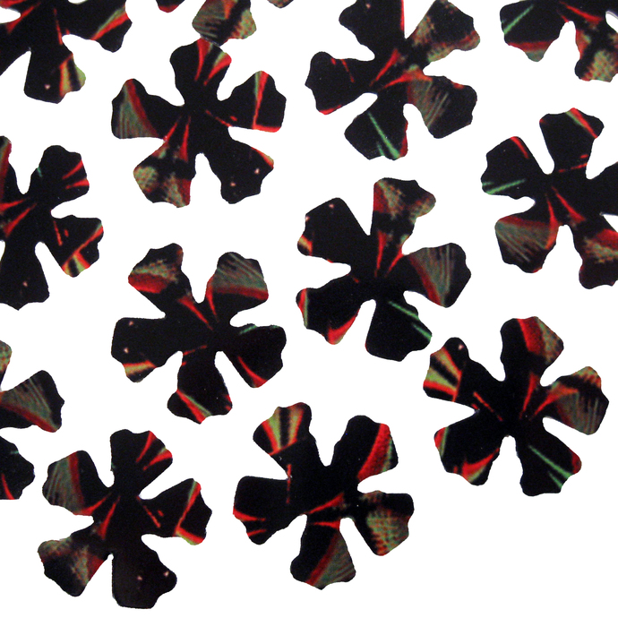 Glossy Black Red Green Yellow Flowers