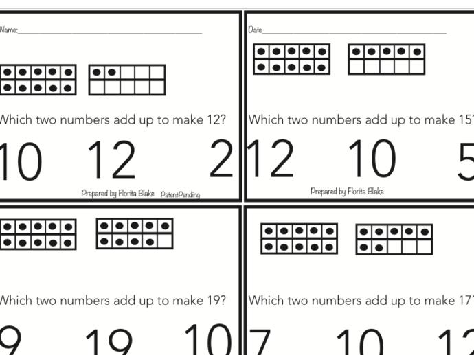 Teen Numbers  Printable Jamboard Fluency Kindergarten-Second Grade
