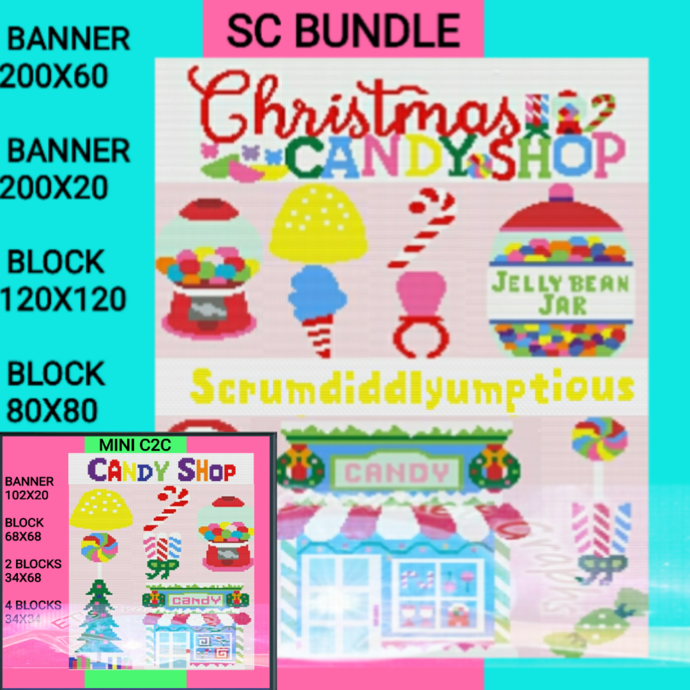 Candy Shop Bundle SC & Mini C2C includes graph with color block instructions